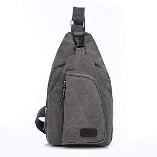 QINEOR Männer Vintage Canvas Leder Satchel Schulter Sling Brust Pack Bag Slingshot Bag Brust Pack,6,A -