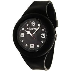 Nuvo - NU13H19 - Unisey Armbanduhr vom Armband abtrennbar - Schwarzes Zifferblatt - Schwarzes austauschbares Armband aus Silikon - Modisch - Elegant - Stylish