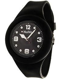 NuVo - NU13H19 - Montre Mixte détachable du bracelet - Cadran Noir - Bracelet Silicone Noir changeable