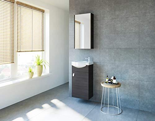 planetmoebel Badmöbel Set Gäste WC Waschtischunterschrank Keramikwaschbecken Spiegelschrank (Anthrazit) -