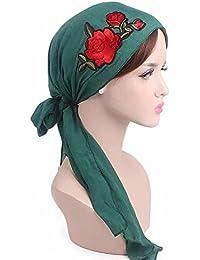 Foulards De Tête Écharpe Avec Rose Brodée Turban De Femme Pour Cancer Chimio  Chimiothérapie Oncologique Nuit ca05922cd3f