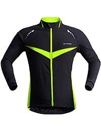 """West ciclismo polar térmico ciclismo chaqueta Unisex camiseta de manga larga viento abrigo cortavientos para hombres y mujeres, mujer Unisex niña hombre Niños, color Black Green, tamaño Tag XL(H:5'9""""-5'11"""",W:165-185lbs)"""