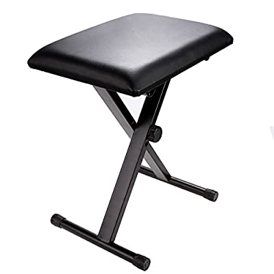 Homdox Adjustable Piano Bench Leather Padded Seat Rubber Feet Folding Stool Chair - low-cost UK light store.