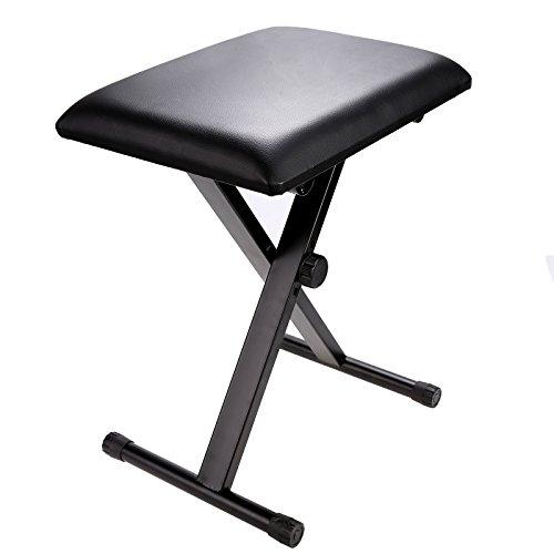 Homdox Klassisch Klavierhocker Adjustable Keyboardbank Leder Gepolsterte Sitzgummifüße Klappstuhl Stuhl schwarz