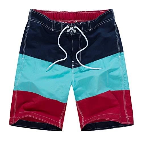 iYmitz Männer Boardshorts Farbe Kollision Patchwork Beiläufig Verstellbarem Tunnelzug Shorts Hosen Badehose Beachshorts Badeshorts(Dunkelblau,EU-78/CN-XL)