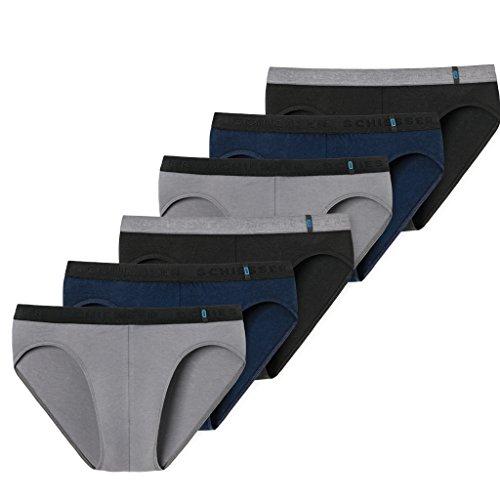 Schiesser 95/5 Rio Slip - 155586-6er Spar-Pack (7 Schwarz/Grau/Blau) Blauer Slip