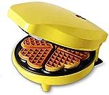 LIANYANG Creatore di muffin domestici,ferro da stiro per muffin in lega di alluminio antiaderente con riscaldamento su due lati e controllo automatico della temperatura(colore:giallo,dimensioni:25x20x