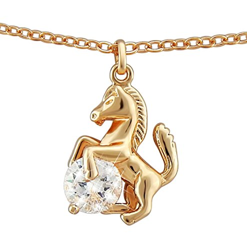 Hanessa Pferde Halskette in Rosé-Gold Strass-Stein Mädchen-Schmuck Tier-Liebhaber Reiten Pony