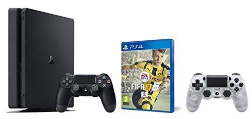 PlayStation 4 Slim (PS4) 1TB - Consola + FIFA 17 + Mando adicional DualShock 4 Crystal