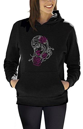 stripe Motiv Frauen Kapuzenpullover Hoodie XXXX-Large Schwarz (Sugar Skull Kostüme Ideen)