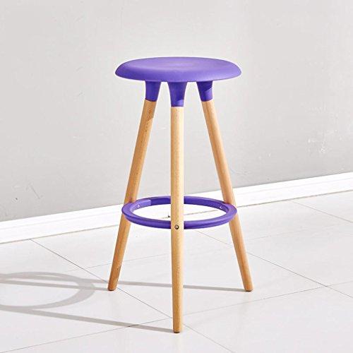 Lh$yu Personnalité de la Mode Bois Massif Chaise de Bar Chaise de Bar Tabouret Haut Tabouret Rond Ménage 76 * 47 * 38 cm, Bar Chair (Purple) More Comfortable