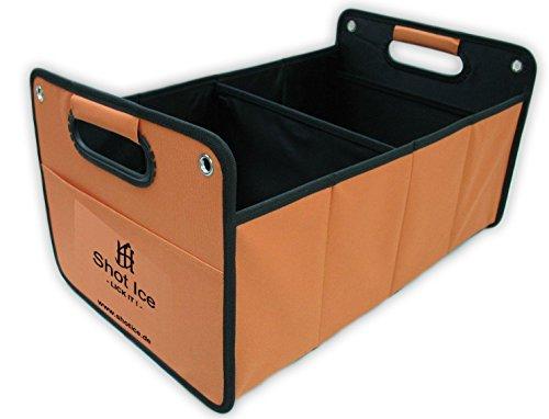 Kofferraumtasche aus Polyester mit stabilem Boden (orange inkl. Druck Shot Ice) - Klappbox Kofferraumbox Faltbox Organizer Autobox Tasche Auto Kofferraum Zubehör CB Präsentwerbung GmbH