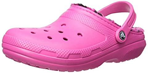 Crocs Womens Classic Lined Pattern Clog Mule, Candy Pink/Berry, 6 B(M) US 4 D(M) US Men