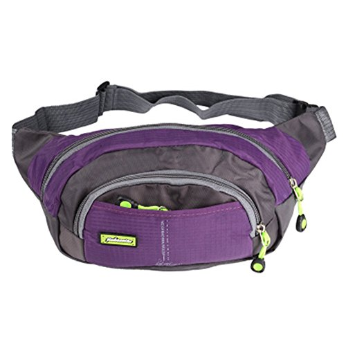 41XddO8L25L. SS500  - Purple, Adjustable Sports Pockets With Zipper Stylish Running jogging Waist Pack