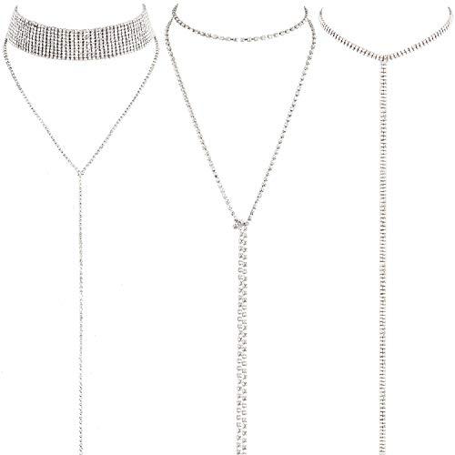 en Halskette Geschichteten Choker Halskette Doppel Strass Kristall Mehrschichtige Lange Choker Halsketten Strass Schmuck Halskette Ketten für Damen und Mädchen ()