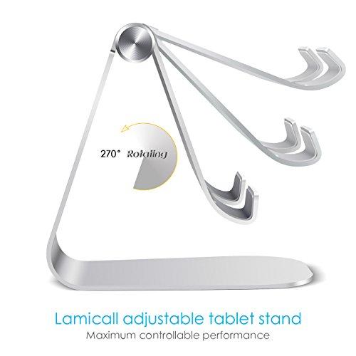 iPad Ständer Verstellbare, Lamicall Tablet Staender : Universal Halter, Halterung, Dock, Wiege für iPad Pro 10.5 / 9.7, iPad Air 2 3 4, iPad mini 1 2 3 4, Samsung Huawei E-Reader und Google Nexus 7 10 4 Tablette Schreibtisch, andere Tab Smartphone 5''-13'' - Silber - 3