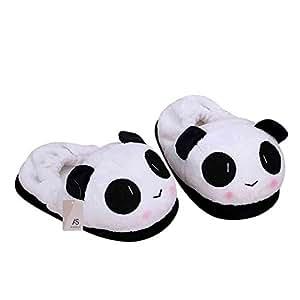 Anself Scarpe pantofola indoor novità per gli amanti inverno caldo pantofole belle dei cartoni animati Panda viso morbido peluche della famiglia termici 26cm/10.24 in