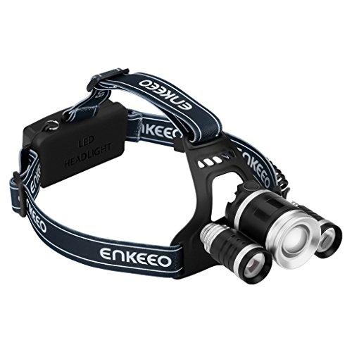 Enkeeo - Linterna Frontal LED de Cabeza Con T6 CREE (5000 lumens brillo, Recargable, 4 Modos Cambiable, 2 bombillas XPE laterales, Rayo hasta 1000pies)