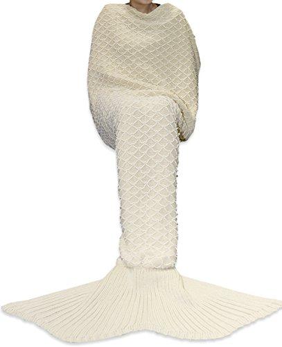Handgemachte Kostüme Babys Für Halloween (YiZYiF Meerjungfrau Decke, Handgemachte Schlafsack Strick Decke Mermaid Tail Blanket Kostüm für Baby Kinder Erwachsene, als Geschenke, Beige, Für)