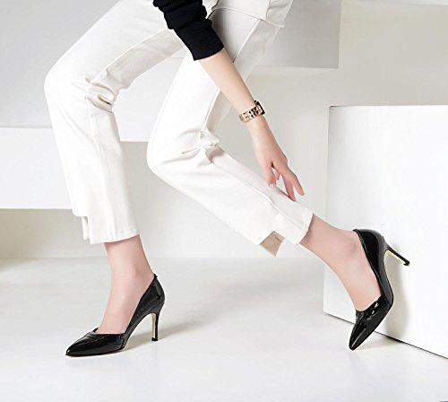 SHIXR Femmes Pompes Chaussures à boutons fermés fines avec bouche superficielle Talons hauts Court Shoes noir leather