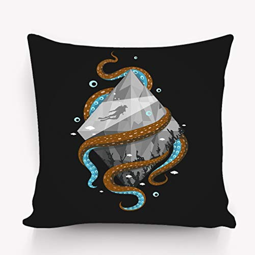 Xunulyn Kissenbezüge Home Decorative Throw Pillow Case Polyester Cushion Cover 18 x 18 Inches Diver Silhouette Crystal Octopus Black Background Black Crystal Case Cover
