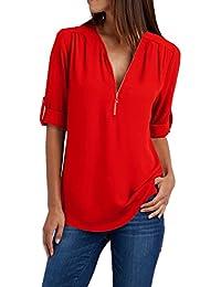 ASSKDAN Femme T-Shirts Col V Zippé Manche 3/4 Chemise Blouse Moussline de Soie (15 Couleurs/S-5XL)