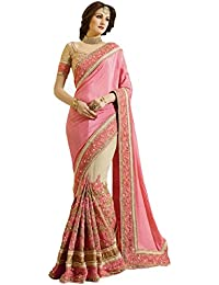Magneitta Women's Chinon & Net Saree With Blouse Piece (80068_Pink)