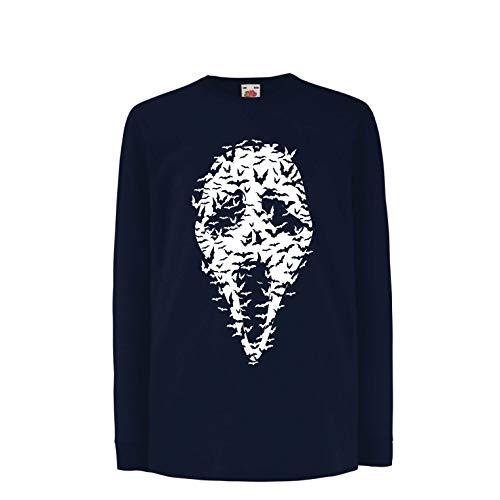 lepni.me Camiseta para Niño/Niña Fantasma - murciélagos Cara de Miedo, Traje de Fiesta de Halloween (3-4 Years Azul