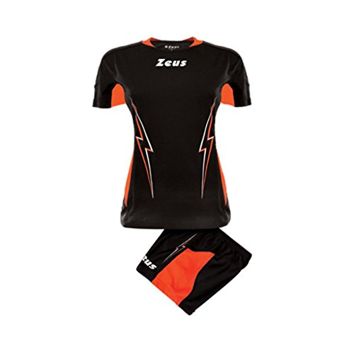 Zeus Damen Volleyball Trikot Hose Shirt Indoor Handball Training Ausbildung KIT VOLLEY DONNA TUONO SCHWARZ ORANGE FLUO (M)