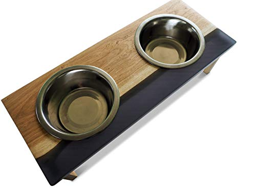 MUDESO - DOG\'S DINNER HUNDEBAR AUS HOLZ UND EPOXIDHARZ IN VERSCHIEDENEN FARBEN - erhöhter Futternapf, Fressnapf, Napfhalter, Napfhalterung, Futterstation, Napfständer