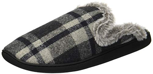 Dearfoams Damen Closed Toe Scuff Slipper, Grau kariert, Medium -