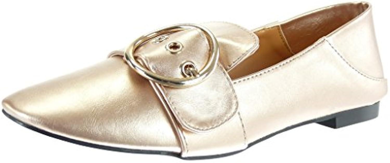 Angkorly - Chaussure Mode Mocassin slip-on Talon Femme boucle doré Talon slip-on bloc 1 CMB0767L8FNHParent f9eb91