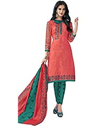 HRINKAR Women's Cotton Salwar Suit Dupatta Dress Material (HRKT1642_Yellow And Pink_Free Size)