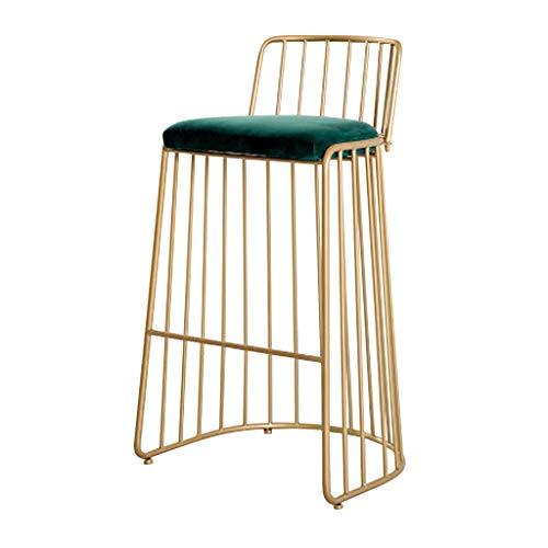 LHNLY-Esszimmerstühle Moderner Barhocker Fußstütze Barstuhl Tresenhocker für Bartisch Pub Küche Hohe Hocker Stühle Bistrohocker | Grün Samt und Gold metallbeinen