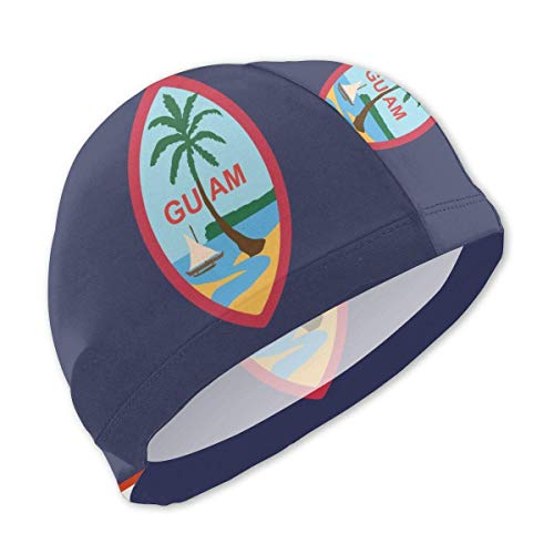 SFHJK Swim Caps Badekappe Guam US Flag Lycra Swim Caps Kids Long Hair Swimming Cap for Girls Boys Kids Teens Lycra Swim Cap