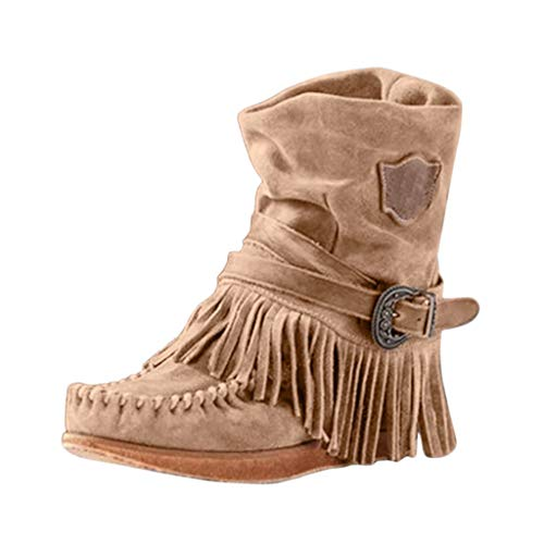 POLP Botines para Mujer con Borla Casual Punta Redonda Roma Retro Botas de Mujer Invierno Zapatos Planos...