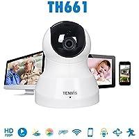 Tenvis TH661 HD Cámara WIFI 720P H.264 red inalámbrica visión nocturna por infrarrojos CCTV IP, función P2P, de 2 vías de audio, Pan / Tilt / Zoom Control, Baby / animal doméstico del monitor, Teléfono inteligente Remote View (Blanco)
