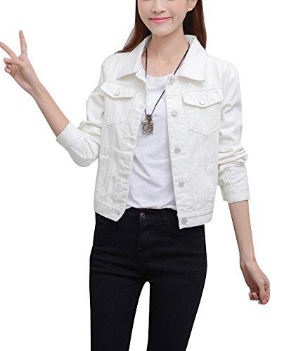 Runyue Corto Chaqueta De Mezclilla Abrigo Denim Jacket Mangas Largas Botón  Corto Jean Tops para Mujer 10fdede1d1c7