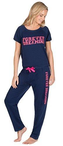 Damen Jogging Style Pyjama Set Lounge Wear Pyjama Baumwollemischung MARINEBLAU FOREVER