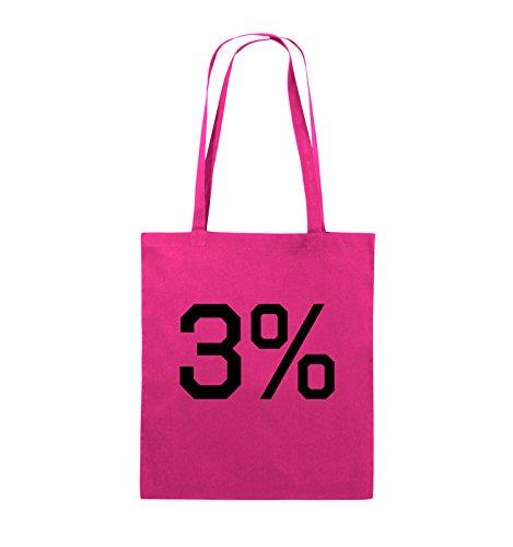Comedy Bags - 3% - LOGO - Jutebeutel - lange Henkel - 38x42cm - Farbe: Schwarz / Silber Pink / Schwarz