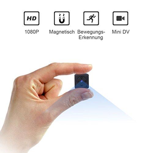 Mini Kamera,NIYPS Full HD 1080P Tragbare Kleine Überwachungskamera, Mikro Nanny Cam mit Bewegungserkennung und Infrarot Nachtsicht, Compact Sicherheit Kamera für Innen und Aussen (Spion-kameras)