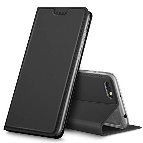 GeeMai Xiaomi Redmi 6A Hülle, Premium Xiaomi Redmi 6A Leder Hülle Flip Case Tasche Cover Hüllen mit Magnetverschluss [Standfunktion] Schutzhülle handyhüllen für Xiaomi Redmi 6A Smartphone, Schwarz