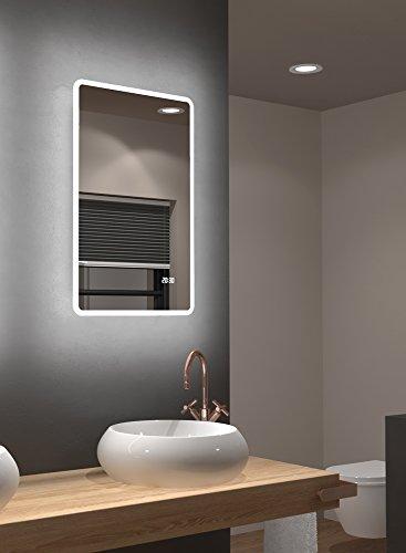 LED Badspiegel Talos Sun 45 x 70 cm, Warmweiß beleuchtet für angenehmes Licht im Bad - Digitaluhr - Lichtumrahmung - Modernes Design