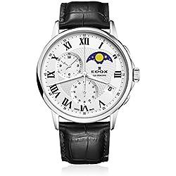 EDOX–Reloj de pulsera hombre Les bémonts Cronógrafo Fase lunar Fecha Cuarzo 016513AR