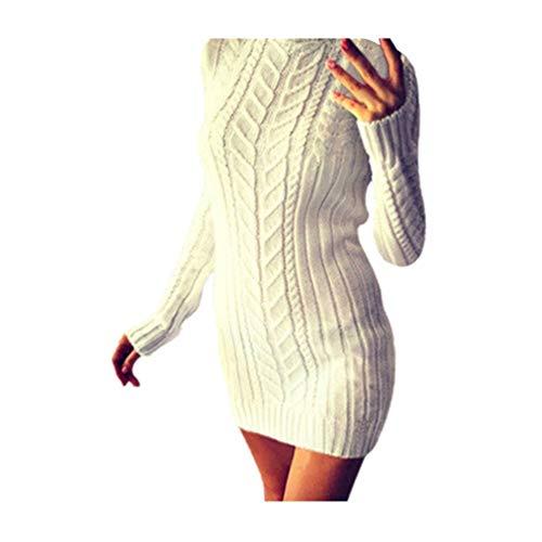 Womens Winter Strickkleid Warmer, Solider Rollkragenpullover Damen Langarm Minikleid