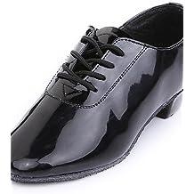 shangyi No personalizable–Plano–Piel sintética–Danza del Vientre/Latin/Zapatos de baile/Modern/Flamenco/Samba–Hombre/Niños, negro