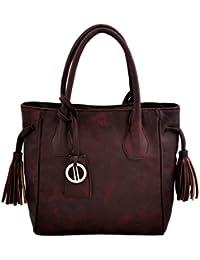 Yelloe Dark Maroon Textured Synthetic Leather Shoulder Bag With Side Tassels & Metal Hanging.