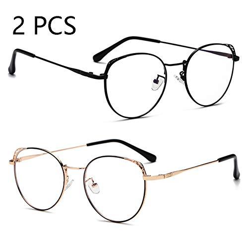 Anti-Blu-Ray-Brille, Stilvolle Große Rahmen Metall Männer Und Frauen Brillengestell, Strahlungsfeste Computerbrille (2PCS),c1+c6 -