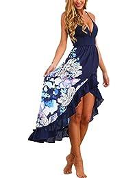 Vestito Asimmetrico Donna Elegante Abito Scollo V Profondo Senza Maniche  Bohemien Vestiti Stampa Floreale con Volant e0cbf39c37c