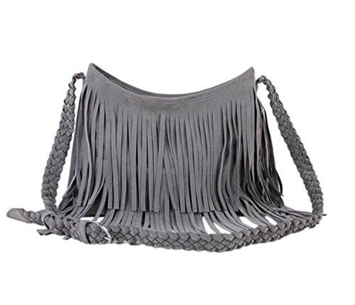 Heyjewels Damen Tasche Schultertasche Umhängetasche mit Fransen Kunstwildleder 34x29x11cm (B x H x T) (Grau) -